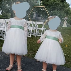 Off white tulle and lace flower girl dresses